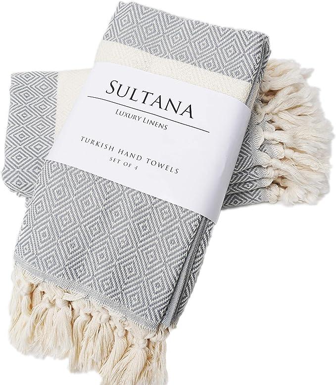 Natural U Turkish Hand Towel Set of 2 Bath and Farmhouse Dishcloth Face Tea 40cm x 85 cm Decorative Bathroom Peshtemal Towel for Hand Kitchen 100/% Cotton Hair Beige