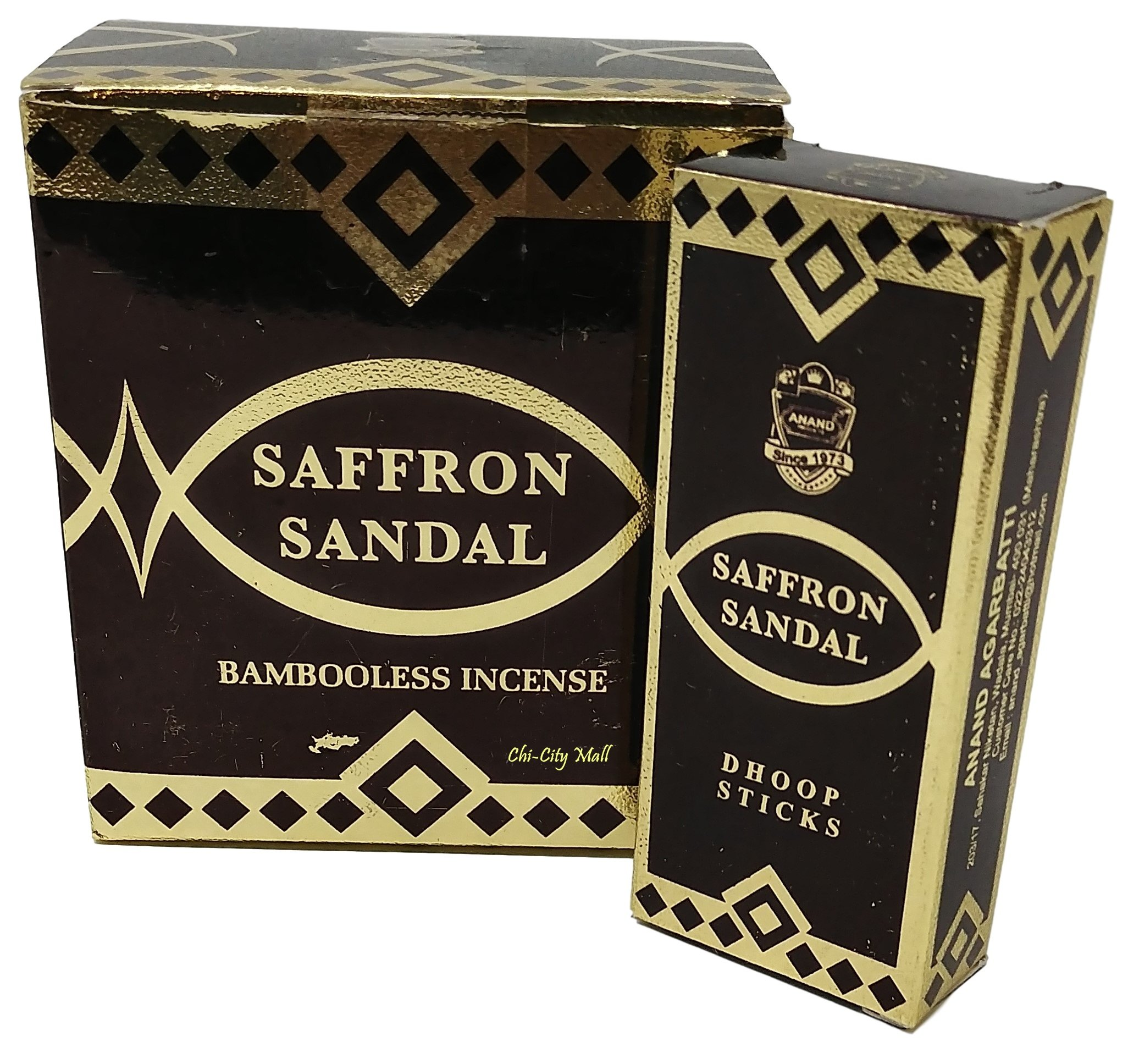 Chi-City Mall Saffron Sandal Bambooless Incense - Dhoop Sticks Anand Agarbatti | Hand-rolled in India | 15 Sticks x 6 Boxes = 90 Dhoop Sticks |