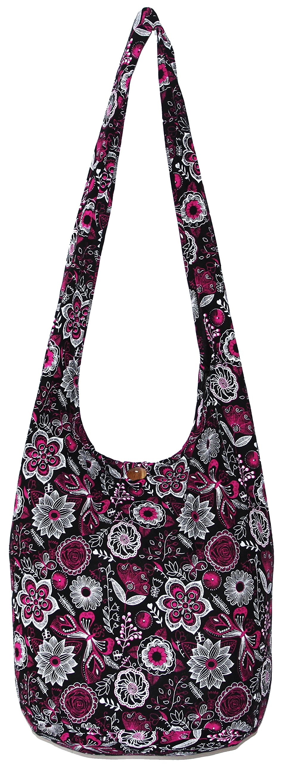 Flower Bohemian Hippie Hipster Hobo Boho Crossbody Shoulder Bag (DarkPink)