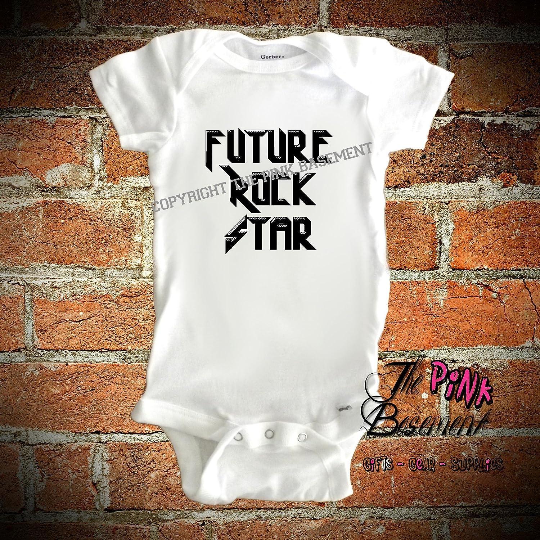 HANDMADE Future Rock Star Pink Black Boys Girls Unisex Baby Newborn Infant Onesies Shower Gift Clothing Rocker Gifts Present Custom Band Bands Music Musician Onesie