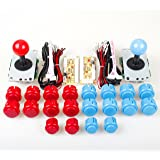 EG Starts 2 Player USB Controller To PC Game 2x 5Pin Stick + 4x 24mm Push Button + 16x 30mm Buttons For Arcade Games DIY Kits Parts Mame SNK KOF & Red / Blue
