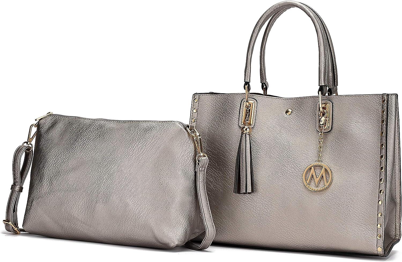 2pc Set Women PU Leather Handbags Shoulder Bags Tote Messenger Bag Satchel Purse