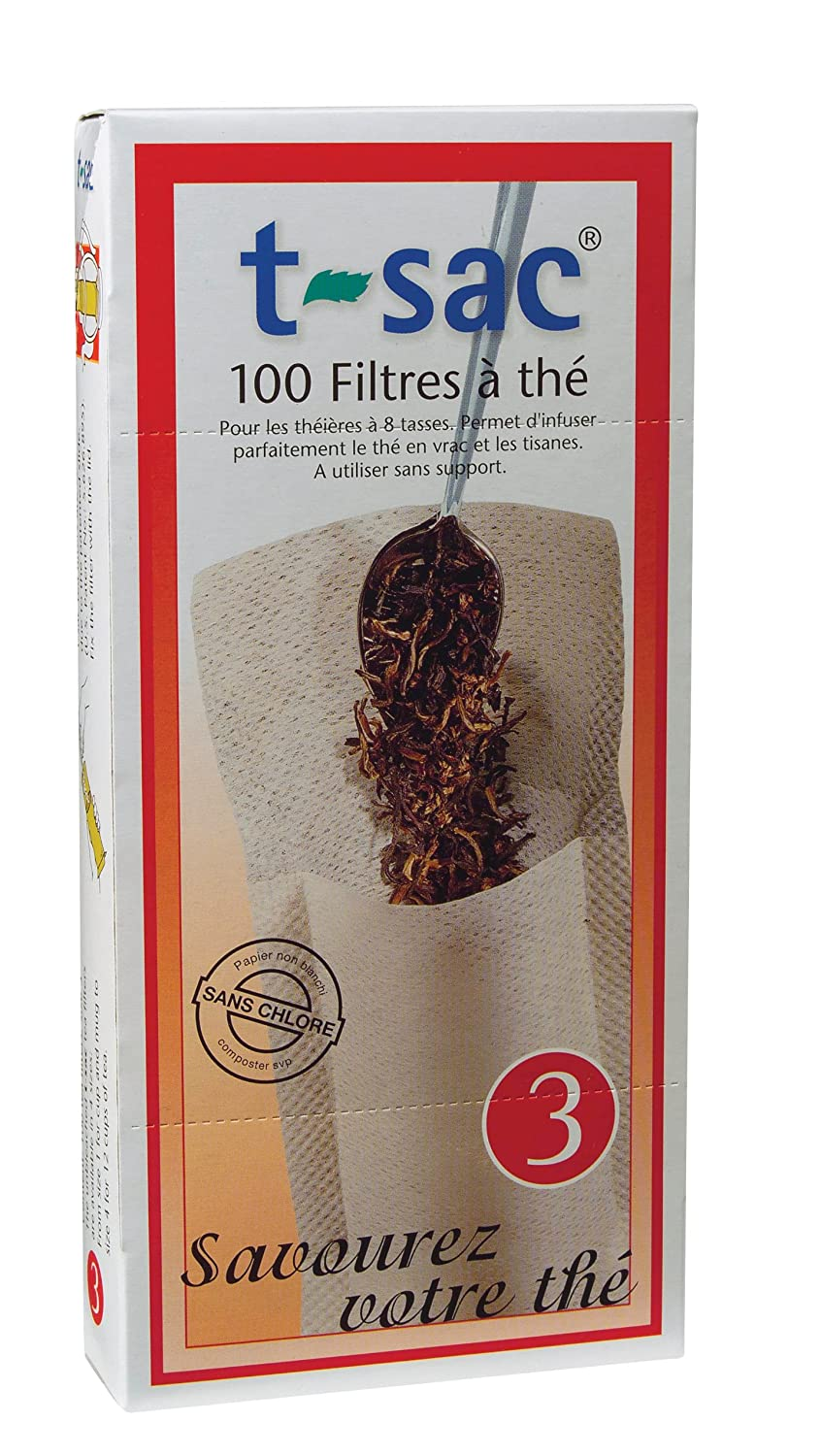 T-Sac Tea Filter Bags, Disposable Tea Infuser, Number 3-Size, 3 to 8-Cup Capacity, 100 Count
