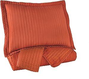 Ashley Furniture Signature Design - Raleda Coverlet Set - King - Contains 3 Pieces - Orange