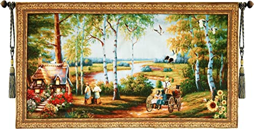 Beautiful Old World Cottage and Stagecoach Fine Tapestry Jacquard Woven Wall Hanging Art Decor