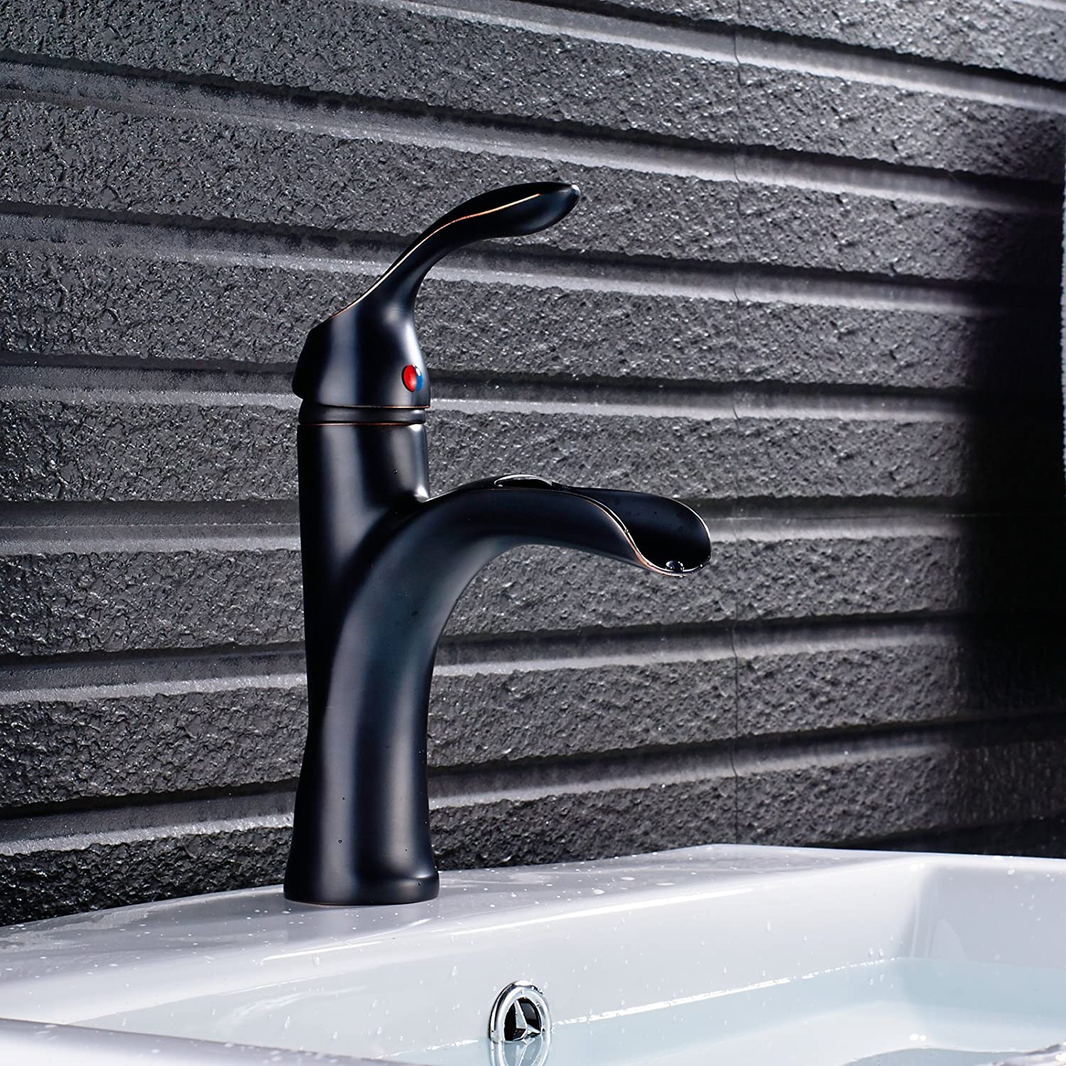 Votamuta Stainless Steel Waterfall Spout Bathroom Basin Sink Faucet Deck Mounted One Handle Hole Lavatory Mixer Tap