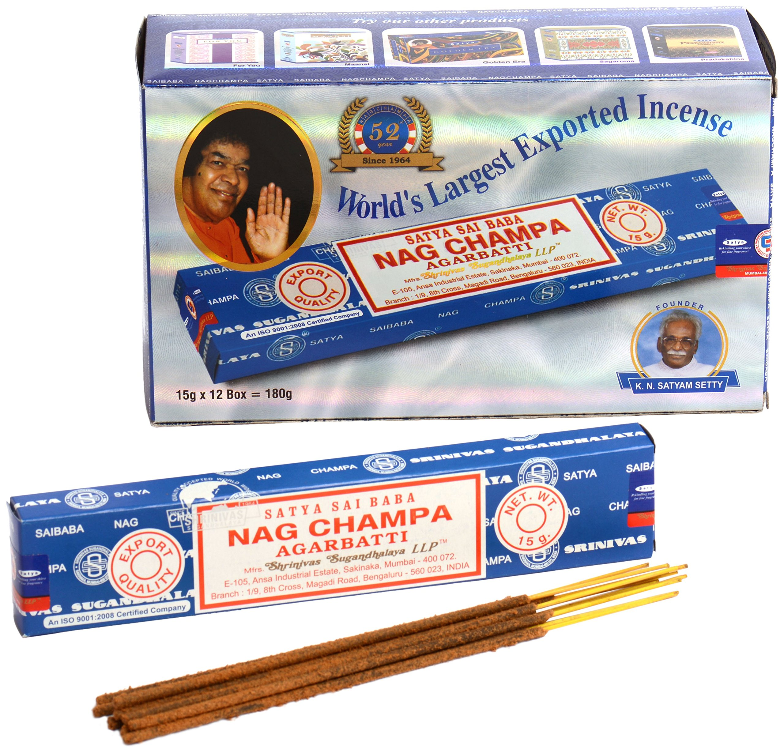 NAG CHAMPA INCENSE STICKS [12 PACKS]                Natural Patchouli Incense Sticks - By Satya Nag Champa - Pack Of 15 G X 12 Boxes - 180 G Total                Satya Assorted 12 Pack Incense Sticks Nag Champa, Celestial, Midnight, Patchouli, Musk, Oodh, Super Hit, Sunrise, Vanilla with Shakti Incense Stick by BUYER EXPRESS