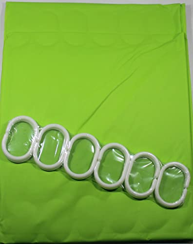 Shower Curtain Lime Green 180 cm Long PEVA Shower Curtain with 12 C Shaped Rings