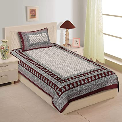Awesome Shop Jaipuri Cotton Rajasthani Single Bedsheet With 1 Pillow Cover