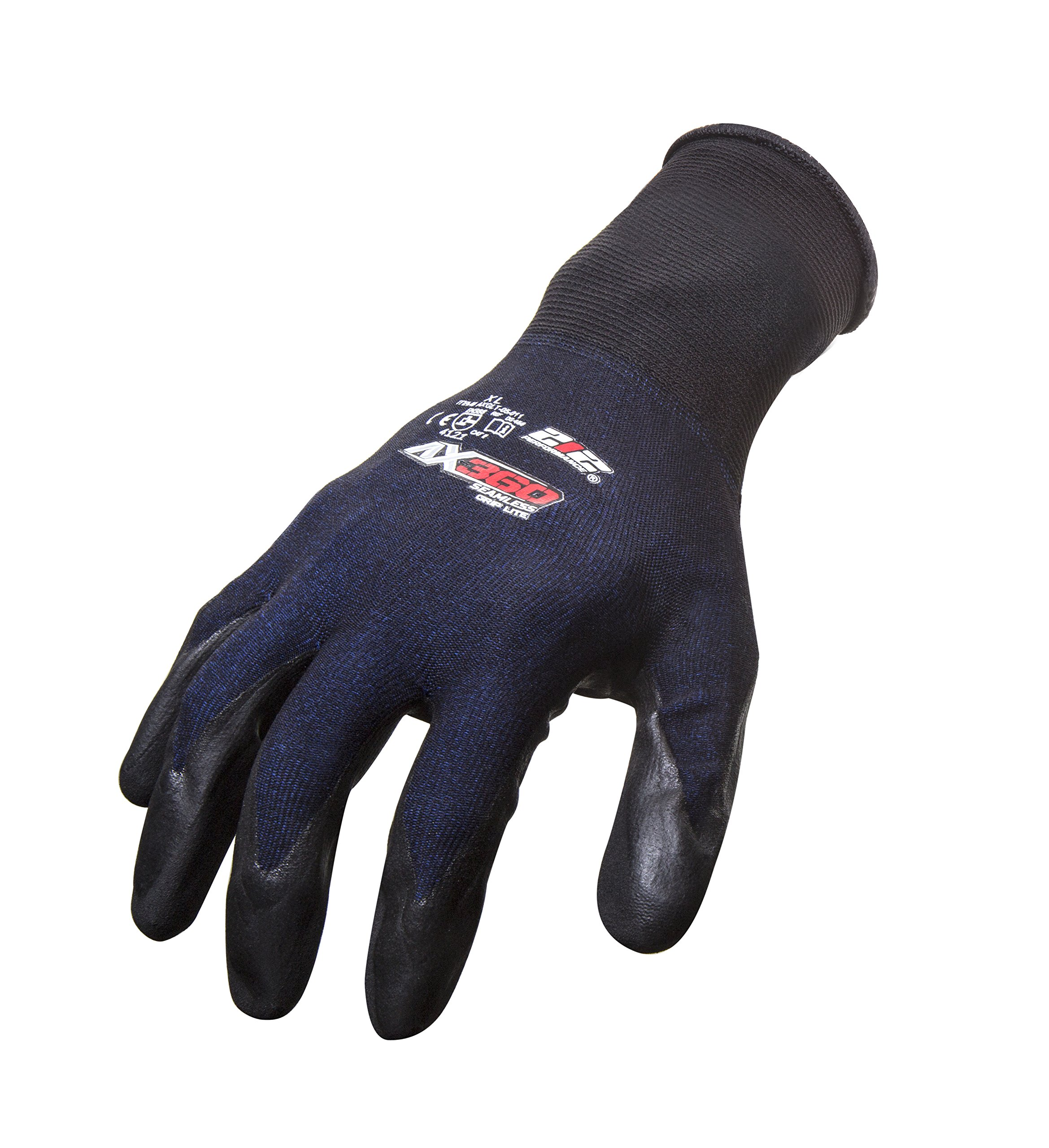 212 Performance Gloves AXGLT-05-008PR AX360 Grip Lite Nitrile-dipped Work Glove, 1-Pair, Small