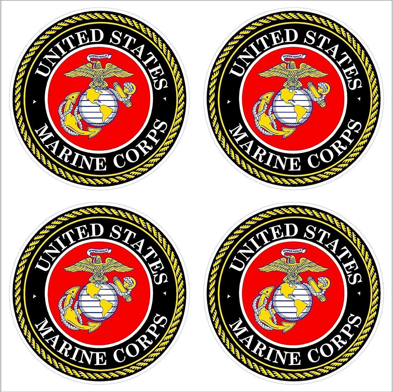 "(4) 2"" U.S. Marine Corps USMC Logo Car Decal Sticker Vinyl American USA Merica United States Marines Helmet Toolbox Hardhat"