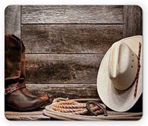 Lunarable Western Mouse Pad, American West Rodeo Traditional Straw Cowboy Hat Leather Boots Print, Rectangle Non-Slip Rubber Mousepad, Standard Size, Brown Tan