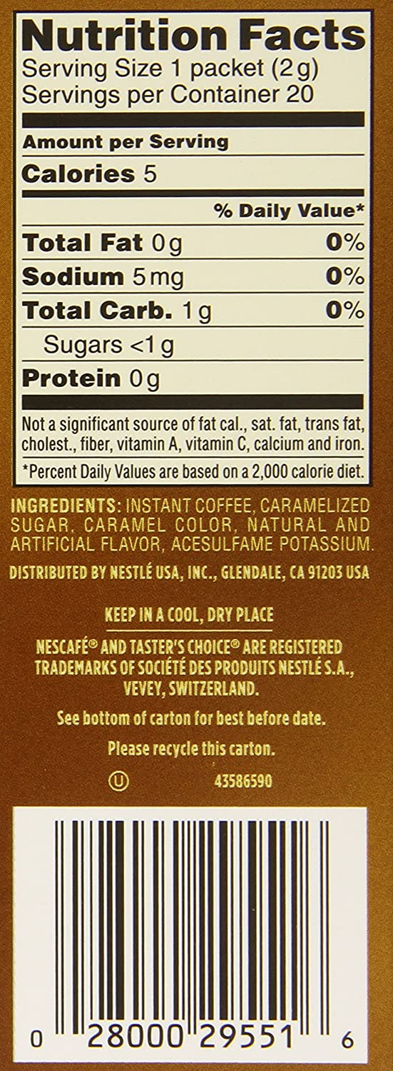 Amazon.com : Nescafe Tasters Choice Hazelnut Instant Coffee, Single Serve Sticks 20-Count, (Pack of 8) : Grocery & Gourmet Food