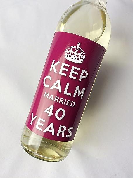 Keep Calm 40th Ruby Wedding Anniversary Wine Bottle Label