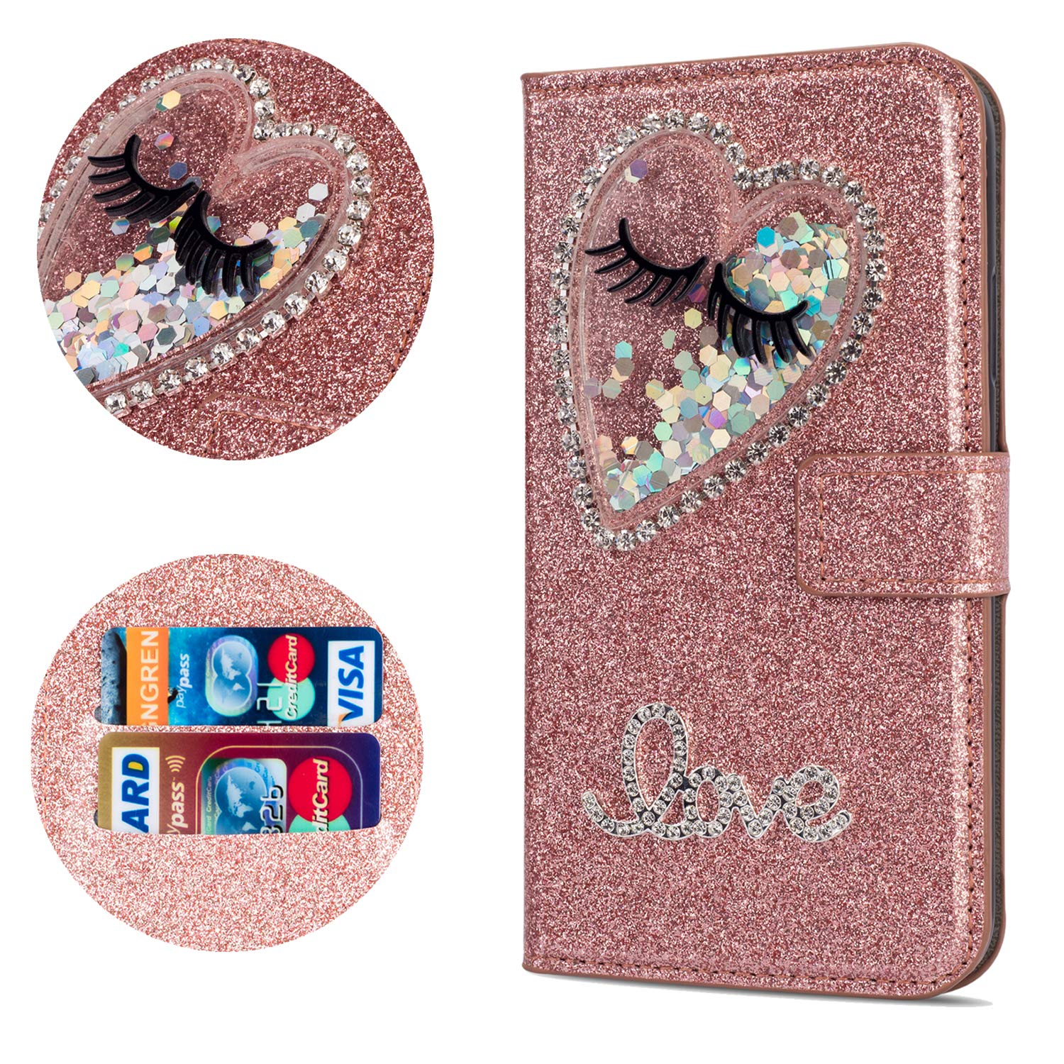 Stysen Flip Case for iPhone 6S 4.7'',Leather Cover with 3D Handmade Diamond Heart Sequins Glitter Shiny Wallet Magnetic Clasp for iPhone 6S/6 4.7'' by Stysen
