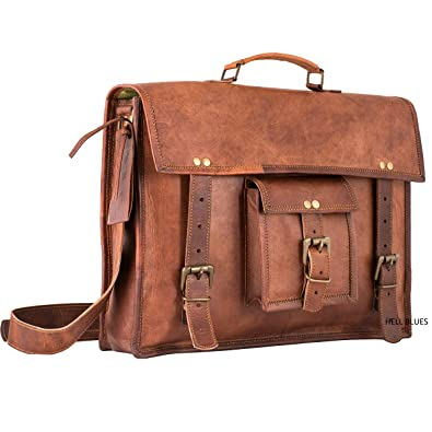 Amazon.com  Hell Blues Ethnic Leather Laptop Shoulder Messenger Bag Case  for upto 15 inch Briefcase with Handle (Strong Stitched with Buckles  Closure)  ... e00e47e41475e