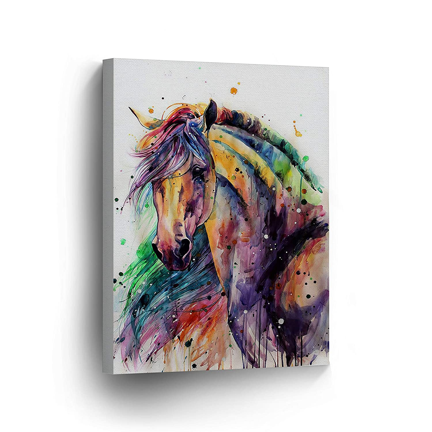 07c1ac83a31 Horse Watercolor Painting Colorful Rainbow Portrait Canvas Print Decorative Art  Wall Décor Artwork Wrapped Wood Stretcher Bars - Ready to Hang -%100 ...
