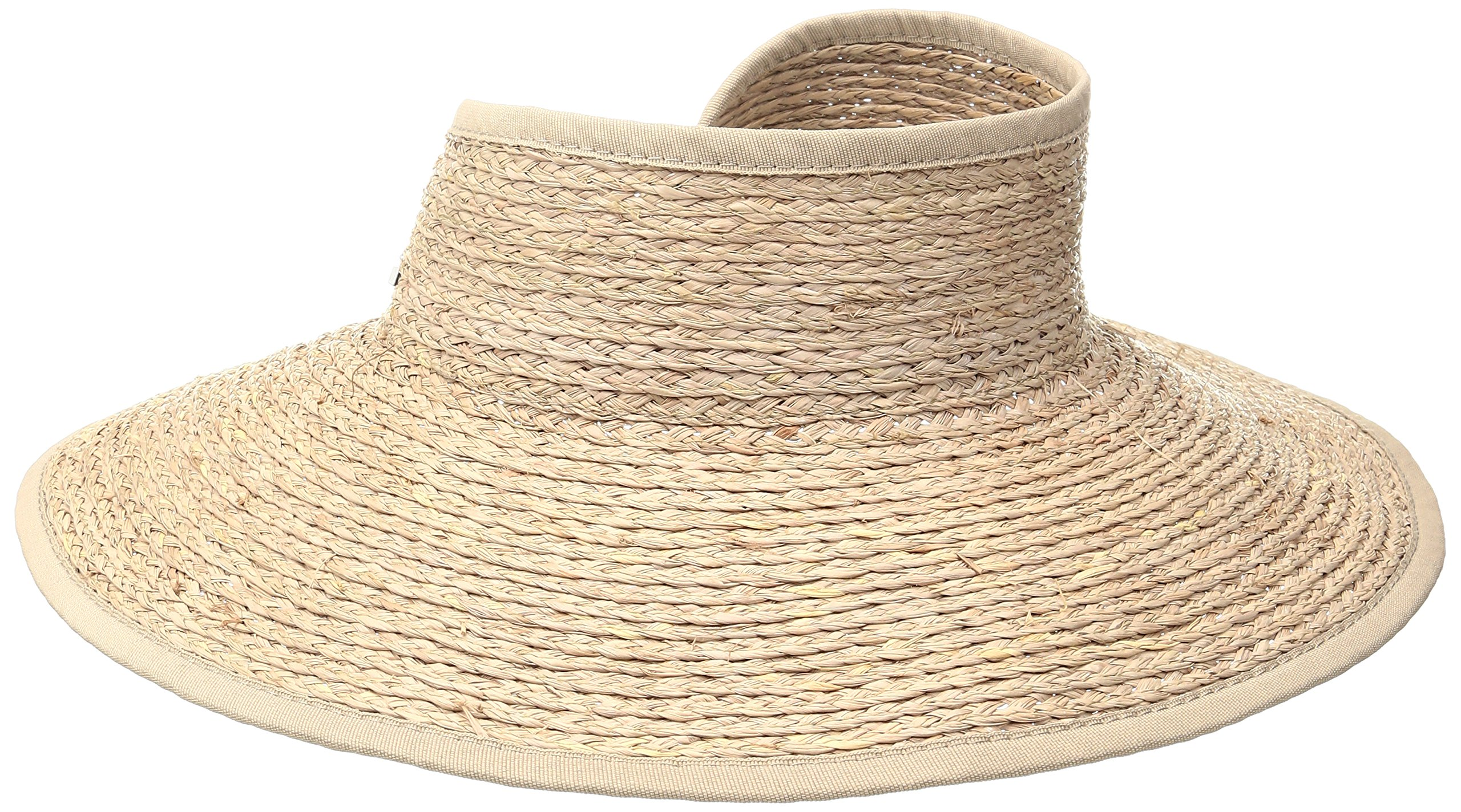 San Diego Hat Company Women's Raffia Roll Up Visor Hat, Nougat, OS by San Diego Hat Company