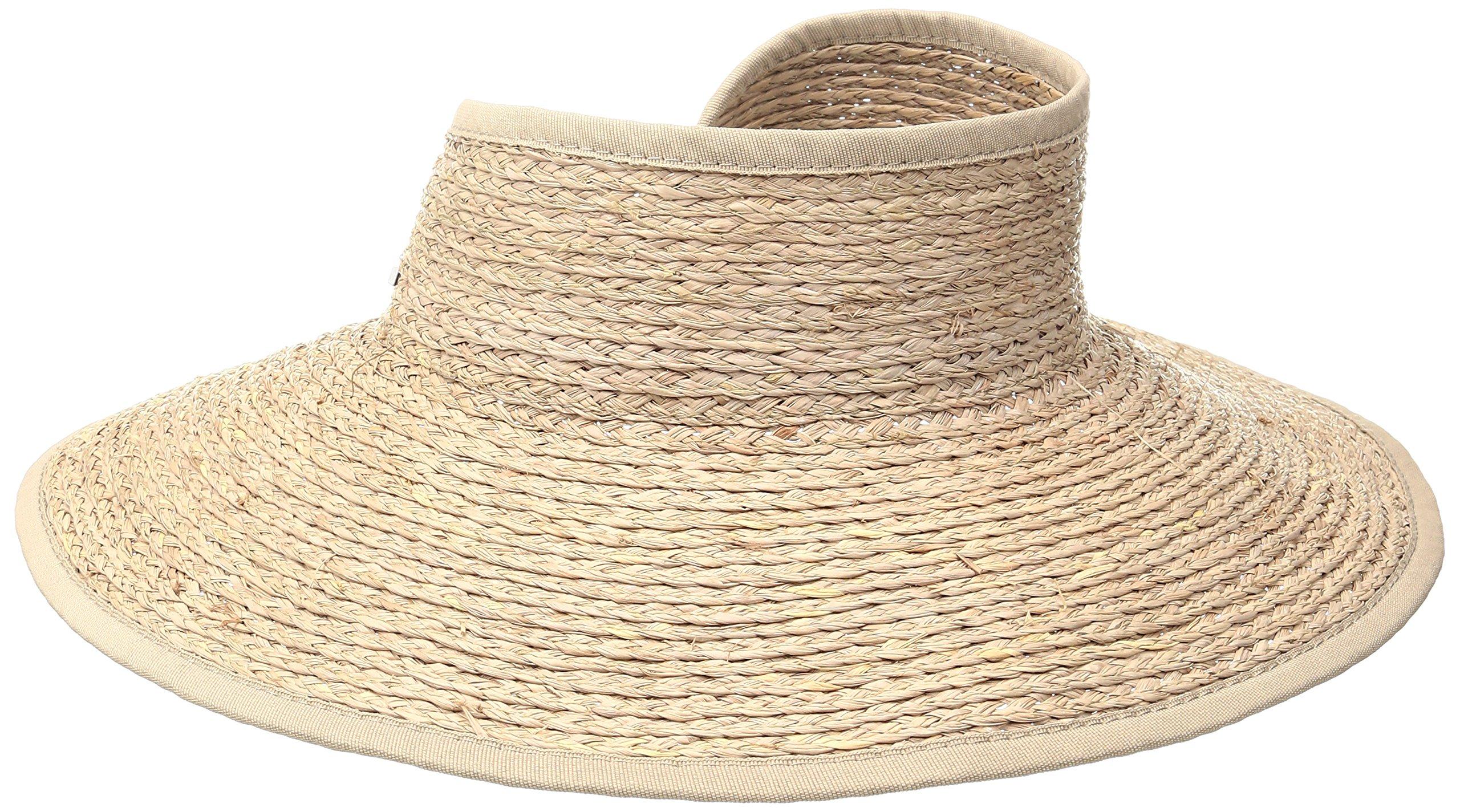 San Diego Hat Company Women's Raffia Roll Up Visor Hat, Nougat, OS