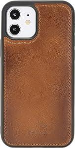 """Renna Leather Handy Case kompatibel mit iPhone 12 PRO MAX (6,7"""") Echtleder Cover Handgefertigt Smartphone case Handy Etui (Brown)"""