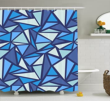 Ambesonne Geometric Decor Collection, Abstract Ice Crystal Pattern Frost  Cold Triangle Sharp Edges Monochromatic Art