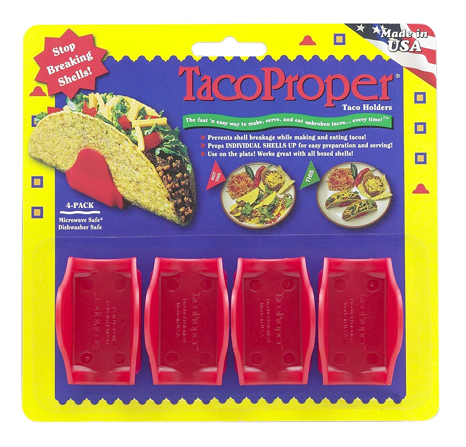 The TacoProper FiestaPak, Set of 12 Taco Holders, Made in America Harold Import Company Inc. 11934PF R6012B-25_VCP