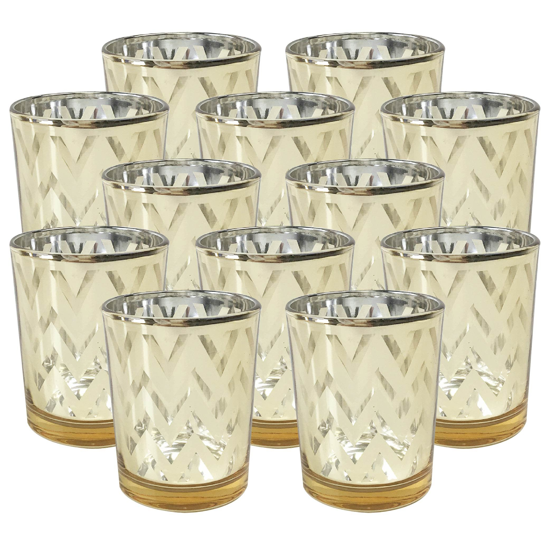 Just Artifacts Glass Votive Candle Holders 2.75''H Chevron Gold (Set of 12) - Glass Votive Candle Holders for Weddings and Home Décor
