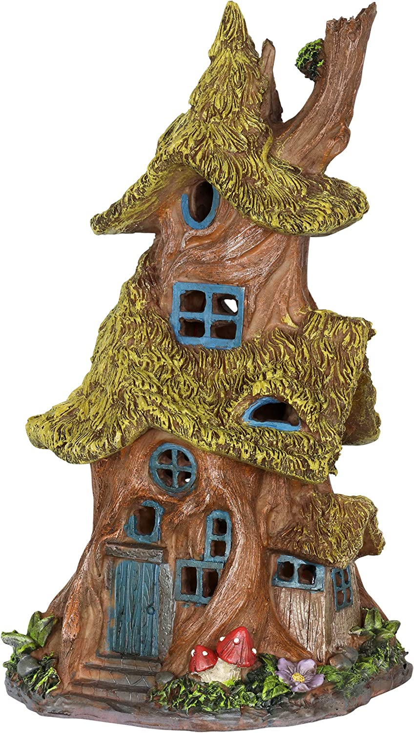 "Exhart Thatched Roof Tree House Garden Statue, Fairy Cottage, Resin, Solar Powered, 7"" L x 7"" W x 13"" H"