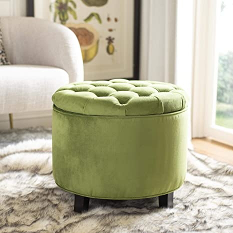 Astounding Safavieh Hudson Collection Amelia Tufted Storage Ottoman Fern Gmtry Best Dining Table And Chair Ideas Images Gmtryco