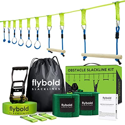 Ninja Obstacle Course Line Kit 40' Slackline 8 Hanging Obstacles with Adjustable Buckles Tree Protectors Instruction Booklet Carry Bag Capacity 300lbs Outdoor Backyard Fun for Kids Adults Family: Sports & Outdoors