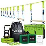 flybold Ninja Obstacle Course Line Kit 40' Slackline 8 Hanging Obstacles with Adjustable Buckles Tree Protectors Carry Bag Capacity 300lbs Outdoor Backyard Fun for Ninja Warrior Kids Adults Family