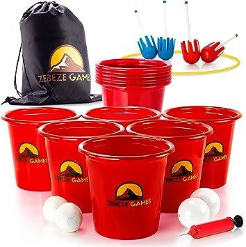Yard Pong Juegos al aire libre – Juego de cubos y bolas gigantes ...