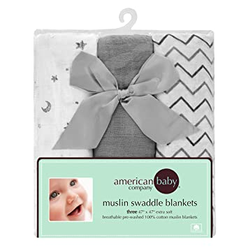 "American Baby Company 3-Count 100% Cotton Muslin Swaddle Blankets, Gray, 47"" x 47"""