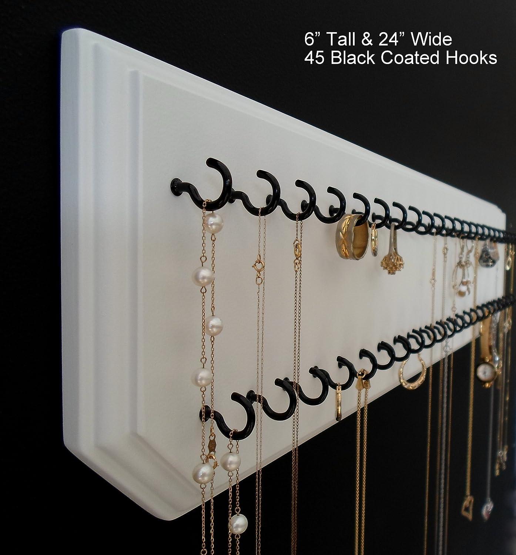 Hanging Necklace Organizer Amazoncom 6x24 White 45 Black Necklace Holder Jewelry