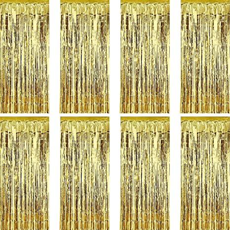 Sumind 8 Pack Foil Curtains Fringe Tinsel Backdrop Metallic For Birthday Wedding Party Photo