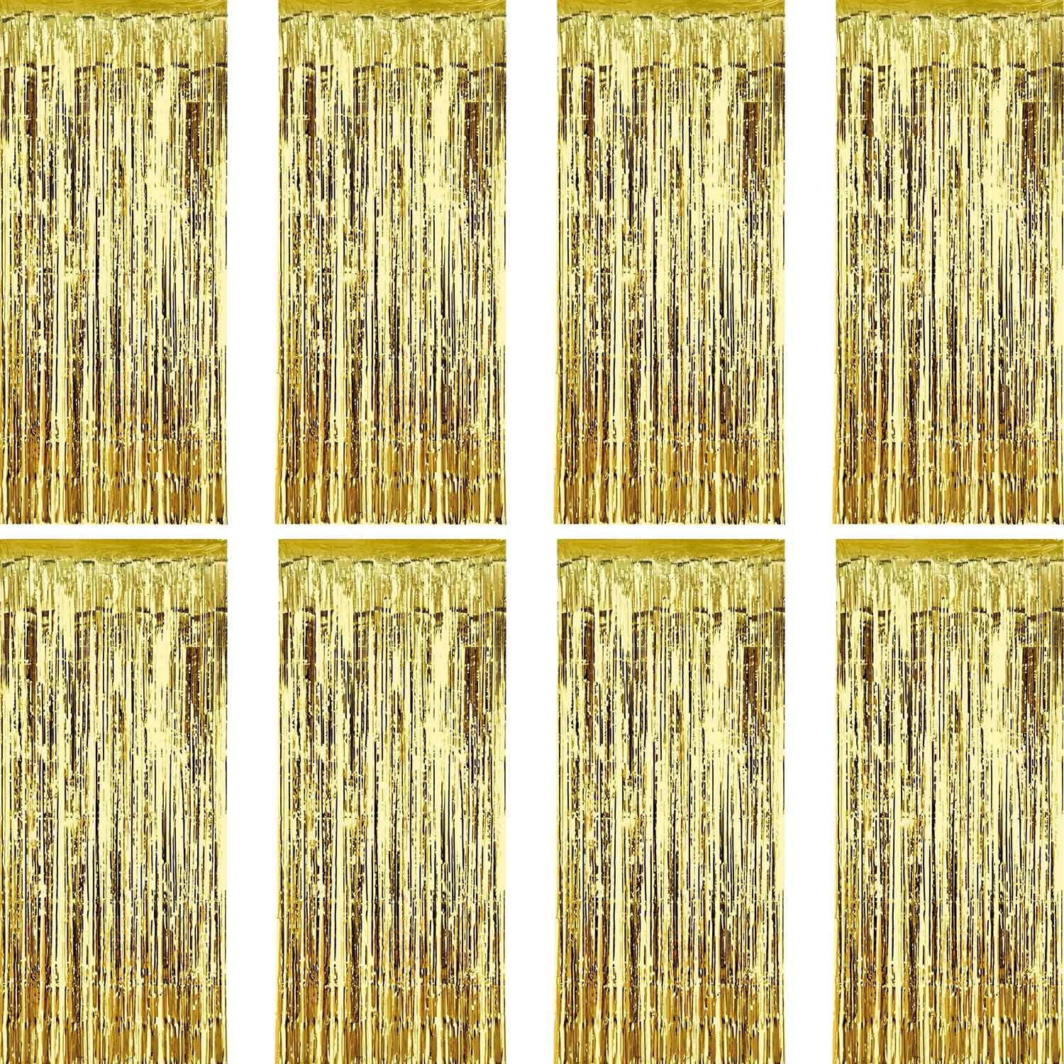 Sumind 8 Pack Foil Curtains Fringe Curtains Tinsel Backdrop Metallic Curtains for Birthday Wedding Party Photo Booth Decorations (Gold) by Sumind (Image #1)