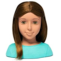 I'm A Stylist Styling Head Lucy - Doll Mannequin Head, Interchangeable Wig, Synthetic Fiber Brown Hair Includes Magnetic Lashes, Hair Accessories, Earrings & Face Gems for Kids 8+ Years - 13