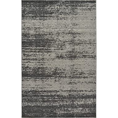 Unique Loom Del Mar Collection Contemporary Transitional Dark Gray Area Rug (5' 0 x 8' 0)