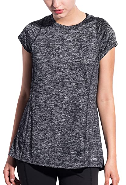 5222276618412 SPECIALMAGIC Women s Athletic Short Sleeve Round Neck Yoga Shirt Loose Fit  Workout Top Charcoal S