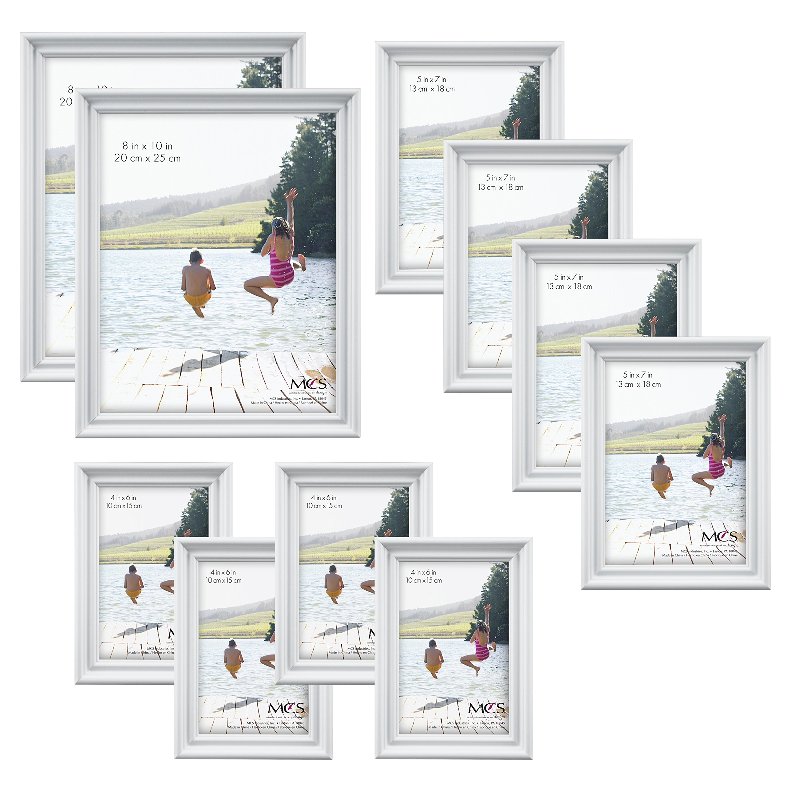 MCS 10pc Picture Frame Value Set - Two 8x10 in, Four 5x7 in, Four 4x6 in, White (65704) by MCS