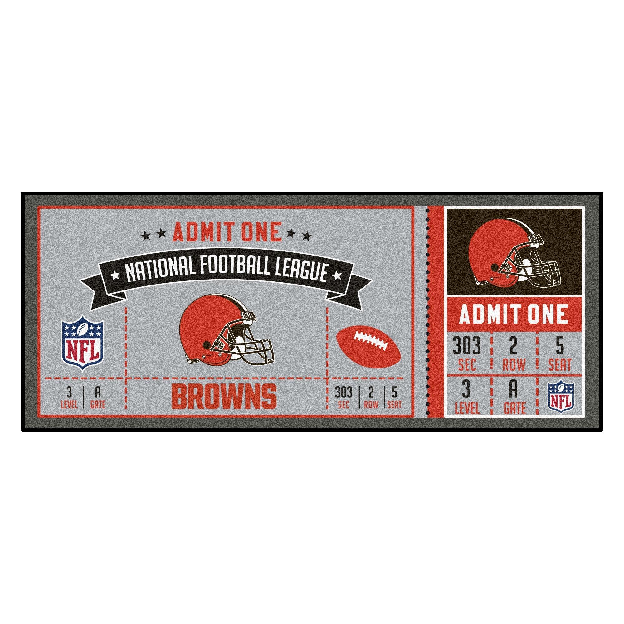 Fanmats NFL Cleveland Browns NFL-Cleveland Brownsticket Runner, Team Color, One Size