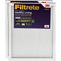 Filtrete Healthy Living Ultra Allergen Reduction HVAC Air Filter, Captures Fine Inhalable Particles like Bacteria & Viruses, Uncompromised Airflow, MPR 1500, 20 x 20 x 1, 2-Pack