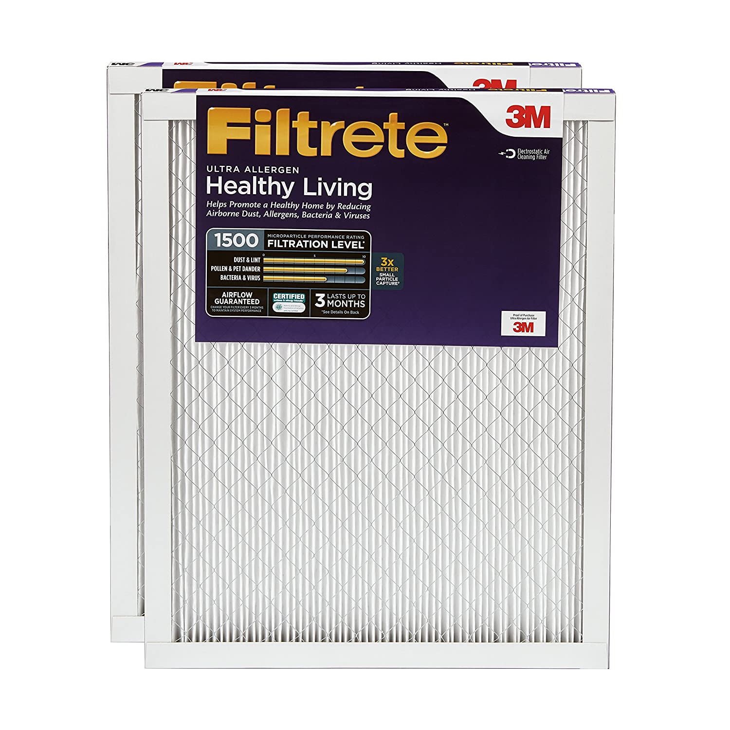 Filtrete MPR 1500 16x25x1 Healthy Living Ultra Allergen Reduction Pleated AC Furnace Air Filter, 2-Pack 3M Canada Company UR01-2PK-6E