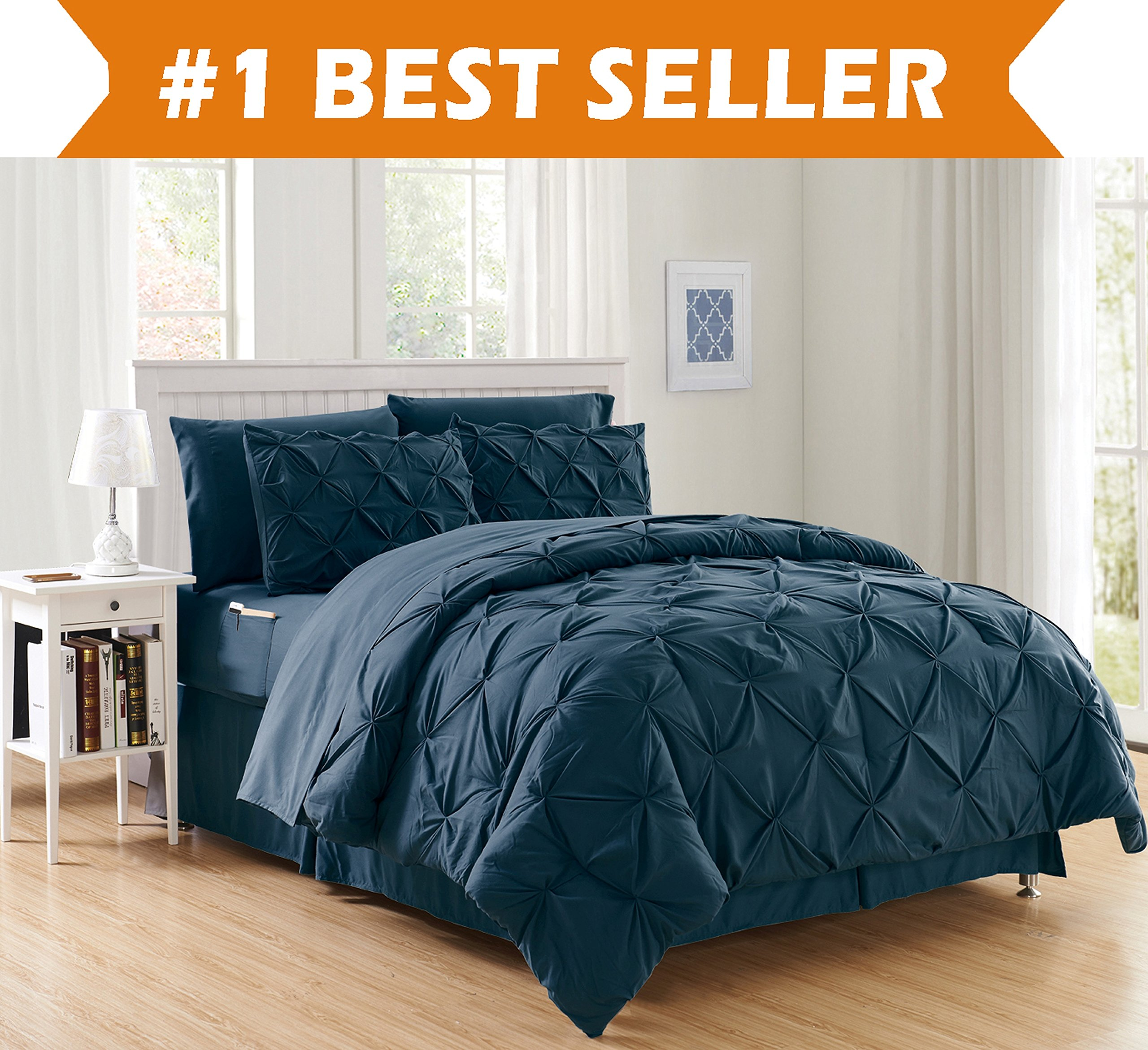 Luxury Best, Softest, Coziest 8-PIECE Bed-in-a-Bag Comforter Set on Amazon! Elegant Comfort - Silky Soft Complete Set Includes Bed Sheet Set with Double Sided Storage Pockets, King/Cal King, Navy