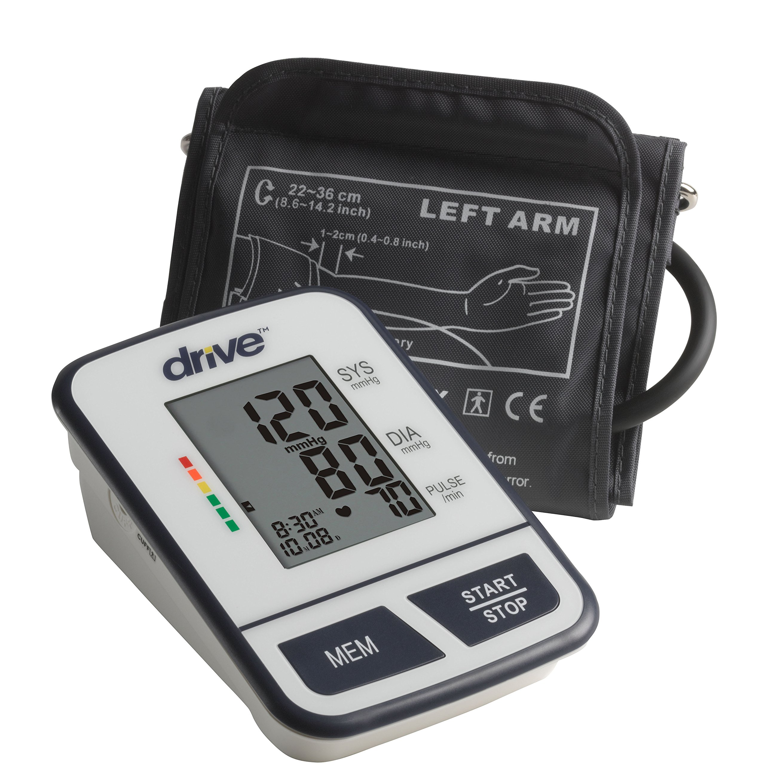 Drive Medical Economy Upper Arm Blood Pressure Monitor, White