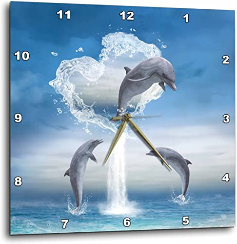 3dRose A Dolphin Jumps Out of a Water Heart Into The Ocean Wall Clock, 15 by 15