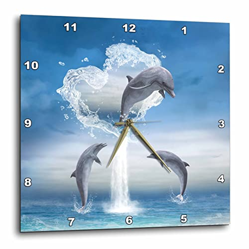 3dRose A Dolphin Jumps Out of A Water Heart Into The Ocean – Wall Clock, 10 by 10-Inch DPP_172929_1