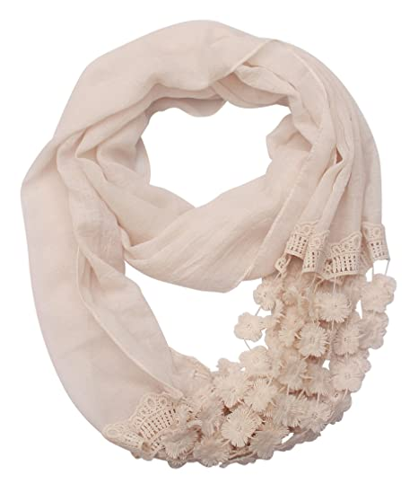 43ea6fabf Lightweight Lace Infinity Scarf Women -Elegant Begie flowers Fashion Soft  Shawl Wrap For Woman Ladies