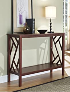 Espresso Abstract Design Occasional Console Sofa Table Bookshelf