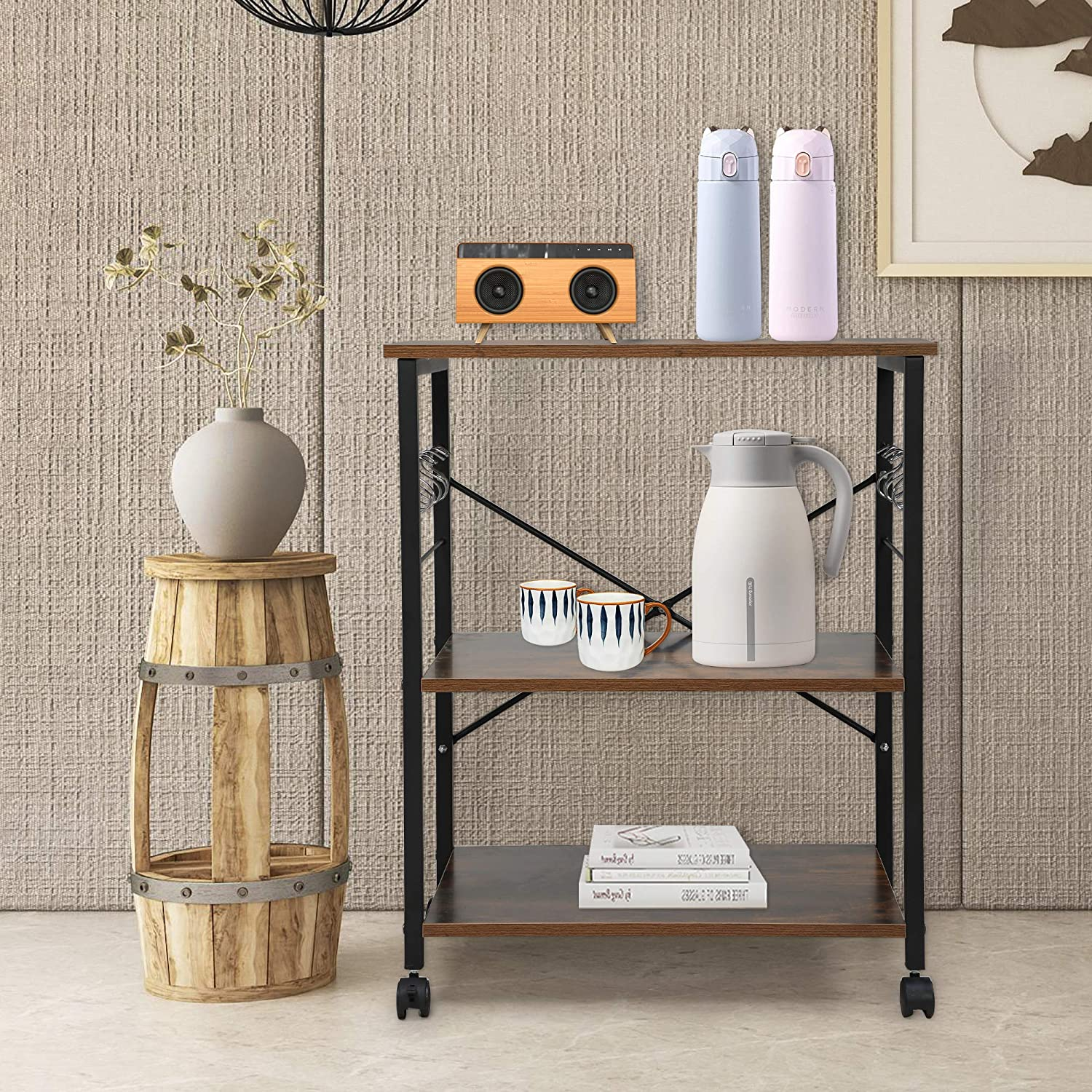 Brown Dining Room Utility Cart Removable Tray JAXPETY Industrial Style 3-Tier Bar Mobile Serving Kitchen Cart with Casters Wood Metal Serving Trolley